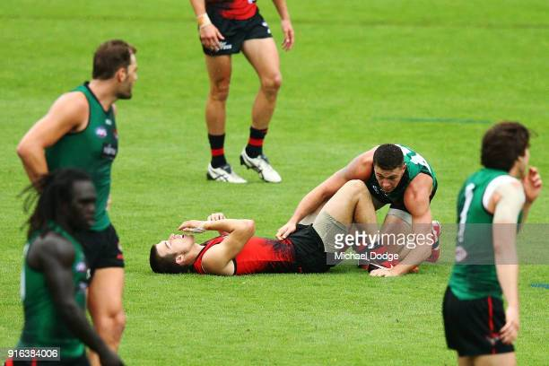 Zach Merrett of the Bombers reacts after a behind play incident with Conor McKenna of the Bombers during the Essendon Bombers AFL IntraClub Match at...