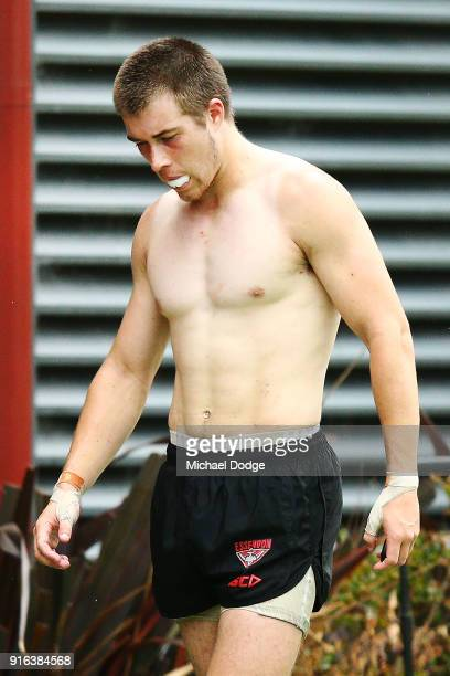 Zach Merrett of the Bombers takes a rest break during the Essendon Bombers AFL IntraClub Match at The Hangar on February 10 2018 in Melbourne...