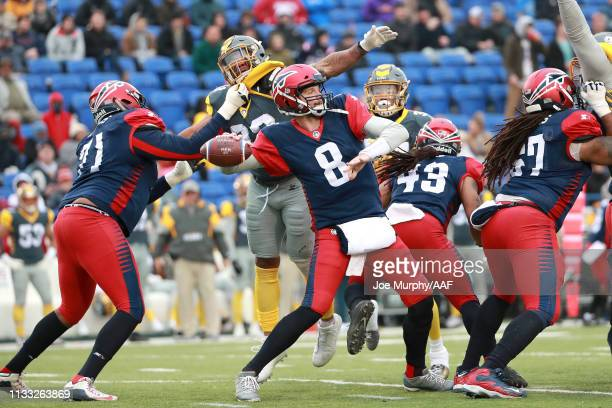 Zach Mettenberger of Memphis Express looks to pass against the San Diego Fleet during the first half in the Alliance of American Football game at...