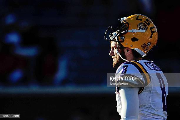 Zach Mettenberger of the LSU Tigers participates in warmups prior to a game against the Ole Miss Rebels at VaughtHemingway Stadium on October 19 2013...
