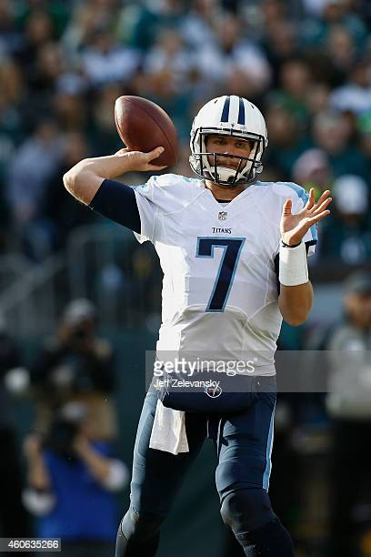 Zach Mettenberger of the Tennessee Titans looks to pass against the Philadelphia Eagles at Lincoln Financial Field on November 23 2014 in...