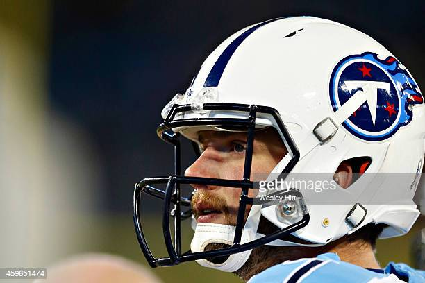 Zach Mettenberger of the Tennessee Titans on the sidelines during the first quarter of a game against the Pittsburgh Steelers at LP Field on November...