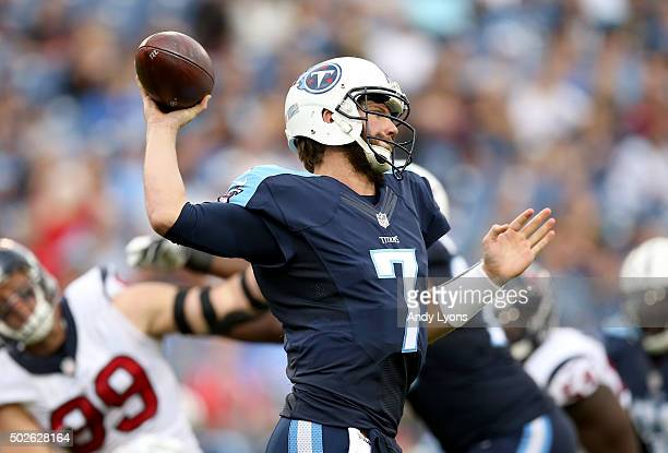 Zach Mettenberger of the Tennessee Titans throws a pass against the Houston Texans at LP Field on December 27 2015 in Nashville Tennessee