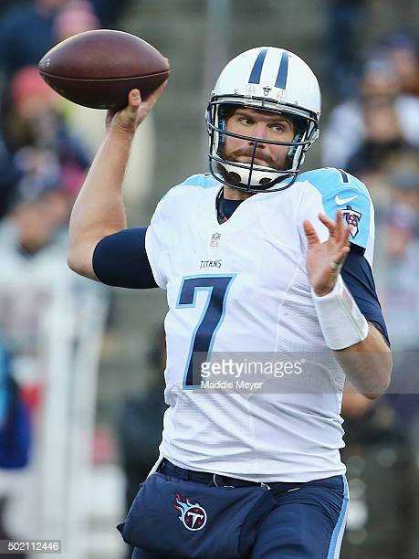 Zach Mettenberger of the Tennessee Titans throws a pass during the second half against the New England Patriots at Gillette Stadium on December 20...