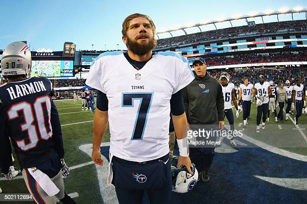 Zach Mettenberger of the Tennessee Titans walks on the field following the game against the New England Patriots at Gillette Stadium on December 20...