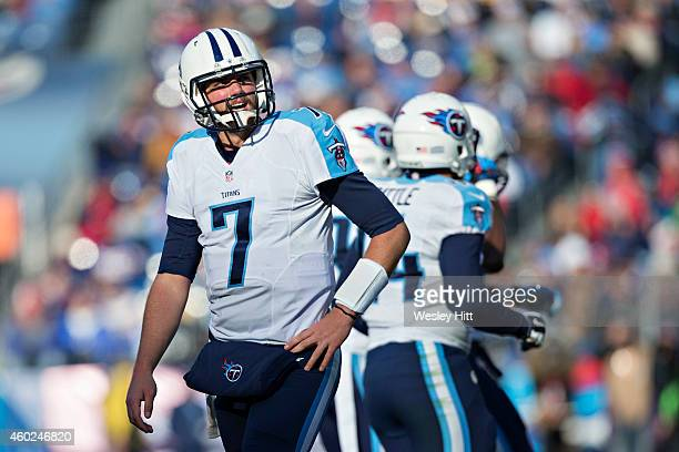 Zach Mettenberger of the Tennessee Titans watches a replay as he walks to the sidelines during a game against the New York Giants at LP Field on...