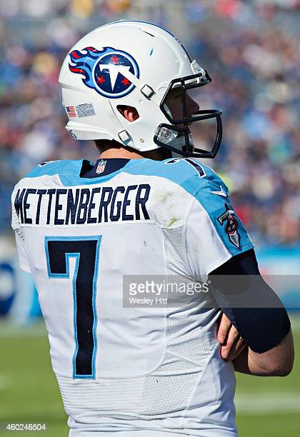 Zach Mettenberger of the Tennessee Titans watches from the sidelines during a game against the New York Giants at LP Field on December 7 2014 in...