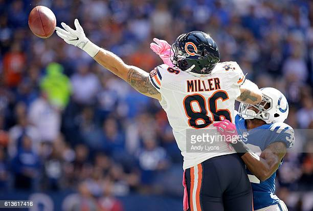 Zach Miller of the Chicago Bears attempts to make a catch during the first quarter of the game against the Indianapolis Colts at Lucas Oil Stadium on...