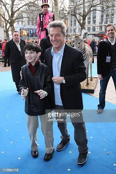Zach Mills and Dustin Hoffman arrive at the UK premiere of 'Mr Magorium's Wonder Emporium' at the Empire cinema Leicester Square on November 25 2007...