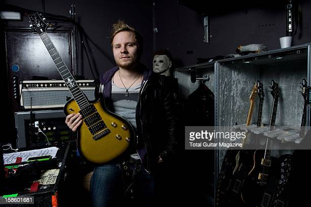 Zach Myers guitarist of American rock band Shinedown photographed during a portrait shoot for Total Guitar Magazine February 12 2012