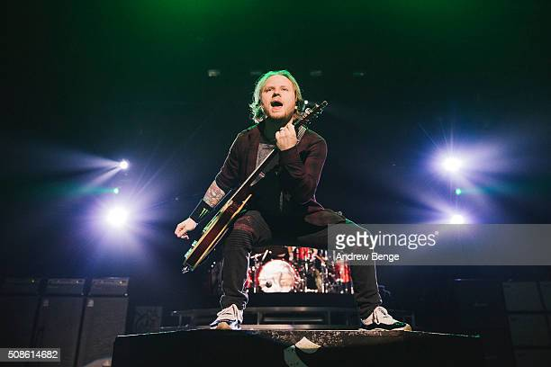 Zach Myers of Shinedown performs at First Direct Arena on February 5, 2016 in Leeds, England.
