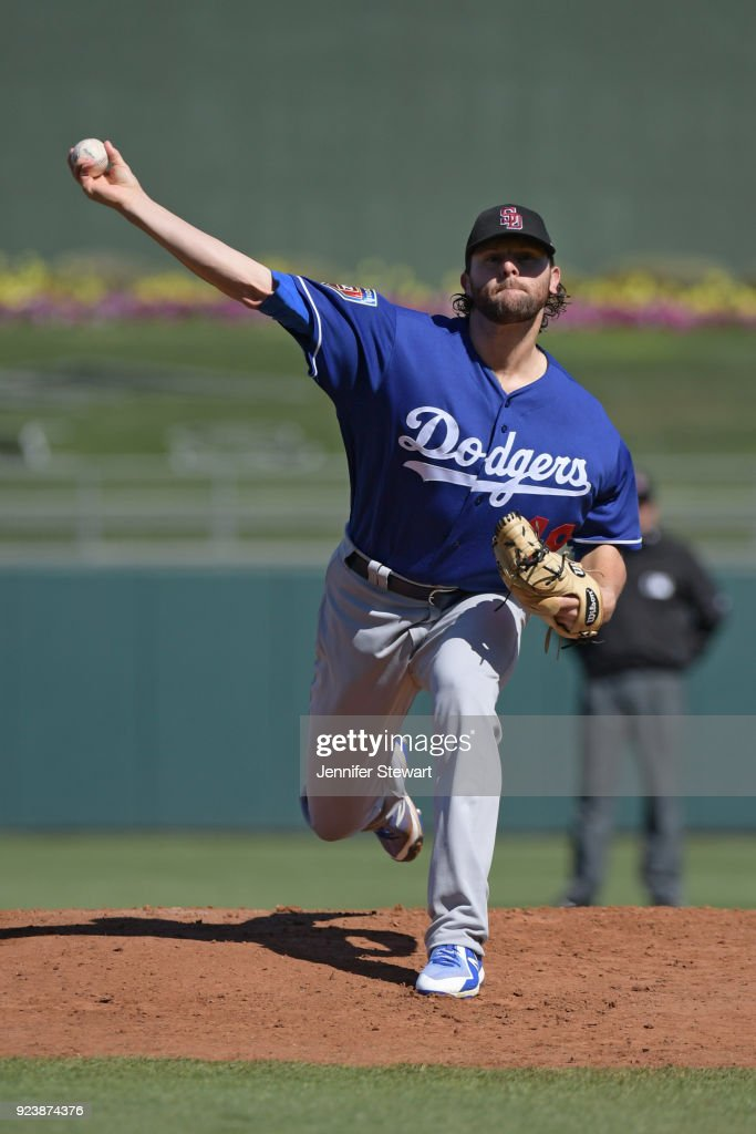 Zach Neal #49 of the Los Angeles Dodgers throws a warm up pitch prior to the first inning against the Kansas City Royals at Surprise Stadium on February 24, 2018 in Surprise, Arizona.