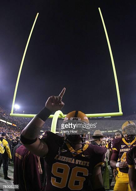 Zach Niusulu of the Arizona State University Sun Devils celebrates a 2017 victory over the University of Arizona Wildcats at Sun Devil Stadium on...