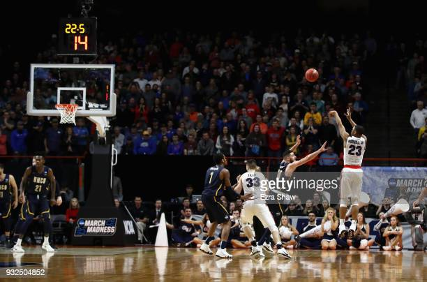 Zach Norvell Jr #23 of the Gonzaga Bulldogs makes a three point basket in the second half against the UNCGreensboro Spartans during the first round...
