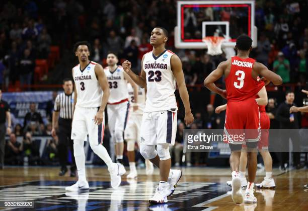 Zach Norvell Jr #23 of the Gonzaga Bulldogs reacts after defeating the Ohio State Buckeyes 9084 in the second round of the 2018 NCAA Men's Basketball...