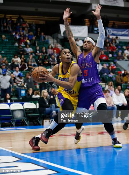 Zach Norvell of the South Bay Lakers drives on Brandon Fields of the Texas Legends in the second quarter on January 04, 2020 at Comerica Center in...