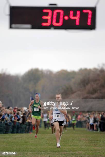 Zach Panning of Grand Valley State University sprints to the finish line during the Division II Men's Cross Country Championship held at the Angel...
