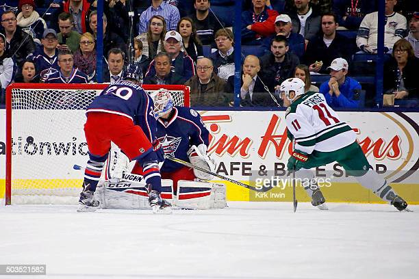 Zach Parise of the Minnesota Wild beats Anton Forsberg of the Columbus Blue Jackets for a goal during the second period on January 5 2016 at...