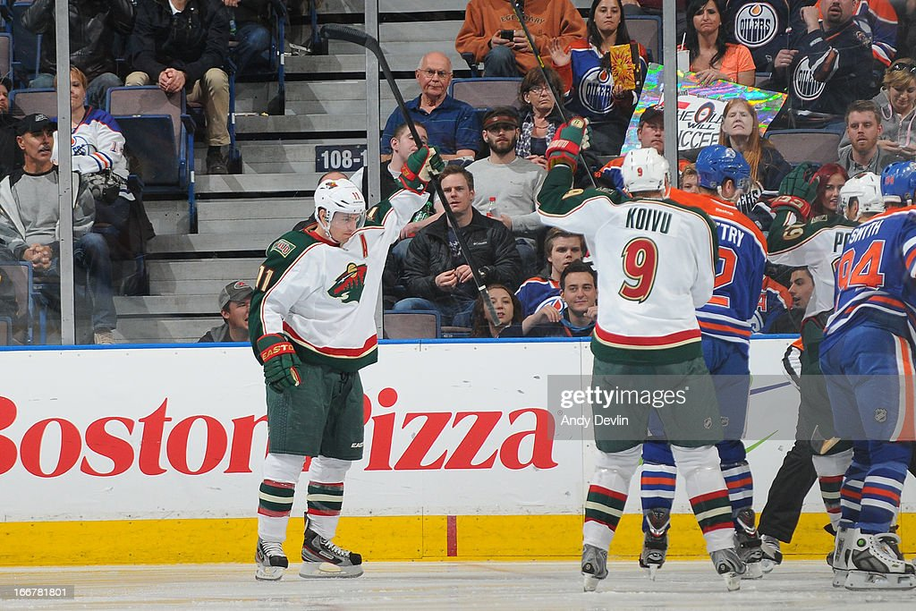 Zach Parise #11 of the Minnesota Wild celebrates after a goal in a game against the Edmonton Oilers on April 16, 2013 at Rexall Place in Edmonton, Alberta, Canada.