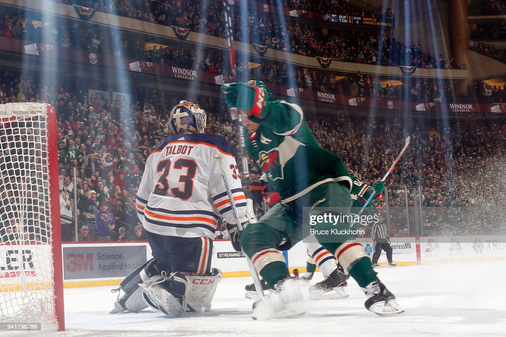 Zach Parise #11 of the Minnesota Wild celebrates after scoring a goal against Cam Talbot #33 of the Edmonton Oilers during the game at the Xcel Energy Center on April 2, 2018 in St. Paul, Minnesota.