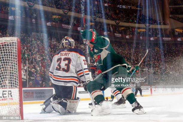 Zach Parise of the Minnesota Wild celebrates after scoring a goal against Cam Talbot of the Edmonton Oilers during the game at the Xcel Energy Center...