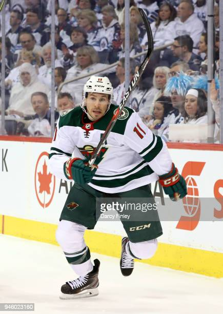 Zach Parise of the Minnesota Wild follows the play down the ice during second period action against the Winnipeg Jets in Game Two of the Western...