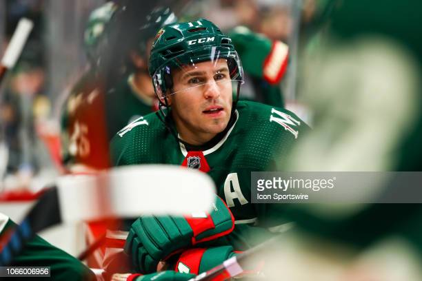 Zach Parise of the Minnesota Wild looks on during the game between the Arizona Coyotes and the Minnesota Wild on November 27 2018 at Xcel Energy...