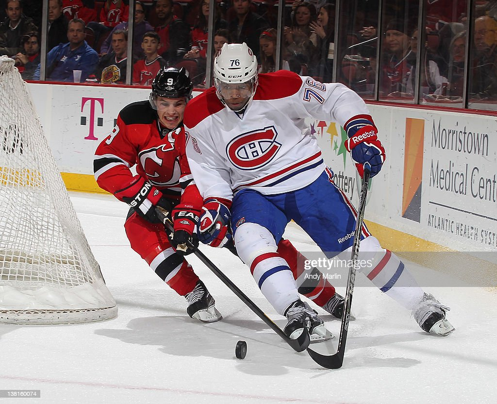 f646c548def Zach Parise of the New Jersey Devils and P.K. Subban of the Montreal ...