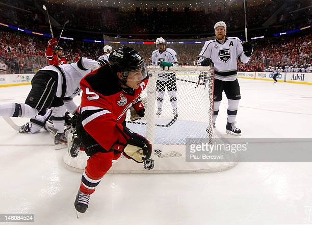 Zach Parise of the New Jersey Devils reacts after scoring a goal in the first period against Jonathan Quick of the Los Angeles Kings during Game Five...
