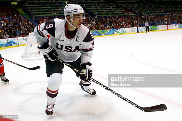 Zach Parise of the United States during the ice hockey men's preliminary game between USA and Norway on day 7 of the 2010 Winter Olympics at Canada...