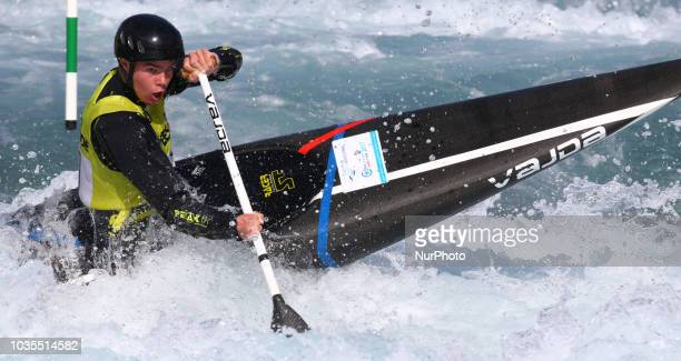 Zach Pearson J18 Holme Pierrepont CC/Alexandra Compete in C1 Men during Canoe Slalom UK Championships at Lee Valley White Water Centre London England...