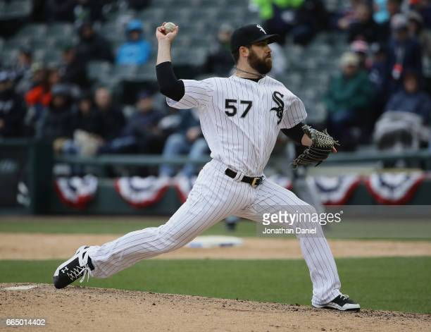 Zach Putnam of the Chicago White Sox pitches against the Detroit Tigers during the opening day game at Guaranteed Rate Field on April 4 2017 in...