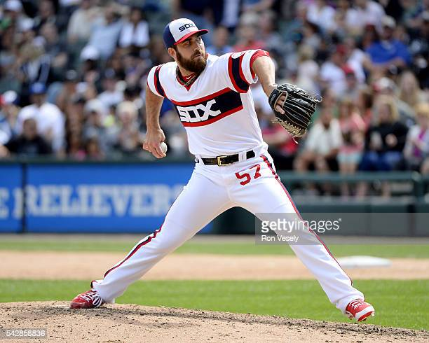Zach Putnam of the Chicago White Sox pitches against the Kansas City Royals on June 12 2016 at US Cellular Field in Chicago Illinois The Royals...