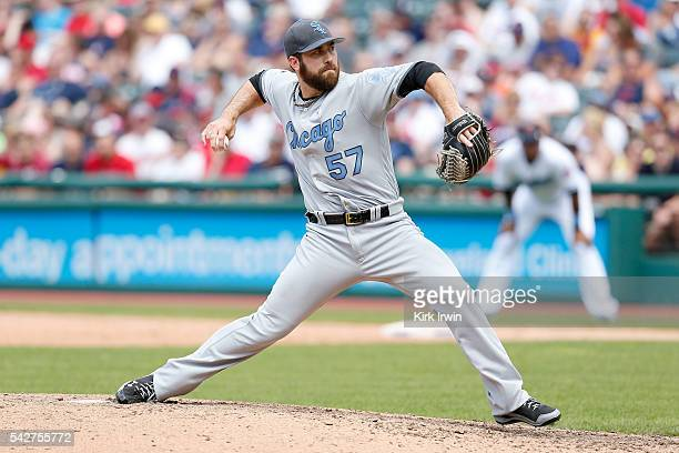 Zach Putnam of the Chicago White Sox throws a pitch during the game against the Cleveland Indians at Progressive Field on June 19 2016 in Cleveland...
