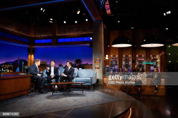 Zach Quinto and Rupert Friend chat with James Corden during 'The Late Late Show with James Corden' Monday March 26 2018 On The CBS Television Network