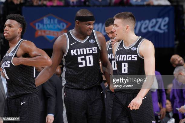Zach Randolph and Bogdan Bogdanovic of the Sacramento Kings talk during the game against the Phoenix Suns on December 12 2017 at Golden 1 Center in...