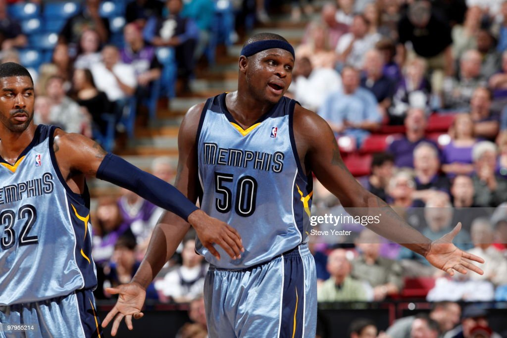 Zach Randolph #50 and OJ Mayo #32 of the Memphis Grizzlies react after the play against the Sacramento Kings on March 22, 2010 at ARCO Arena in Sacramento, California.