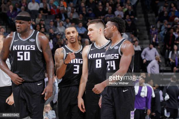 Zach Randolph George Hill Bogdan Bogdanovic and Buddy Hield of the Sacramento Kings face the Phoenix Suns on December 12 2017 at Golden 1 Center in...