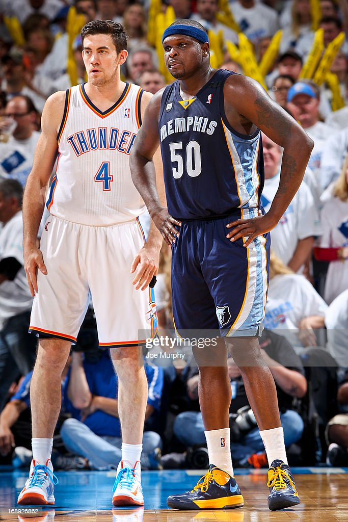 Zach Randolph #50 of the Memphis Grizzlies and Nick Collison #4 of the Oklahoma City Thunder wait to resume play in Game Five of the Western Conference Semifinals during the 2013 NBA Playoffs on May 15, 2013 at the Chesapeake Energy Arena in Oklahoma City, Oklahoma.