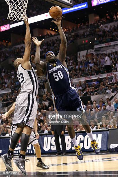 Zach Randolph of the Memphis Grizzlies attempts a shot against Boris Diaw of the San Antonio Spurs during Game Two of the Western Conference Finals...