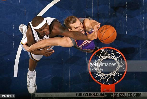 Zach Randolph of the Memphis Grizzlies battles for a rebound against Louis Amundson of the Phoenix Suns on February 16 2010 at FedExForum in Memphis...