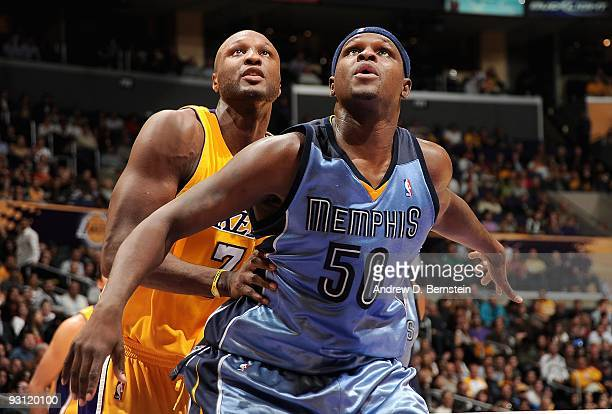 Zach Randolph of the Memphis Grizzlies boxes out Lamar Odom of the Los Angeles Lakers during the game on November 6 2009 at Staples Center in Los...