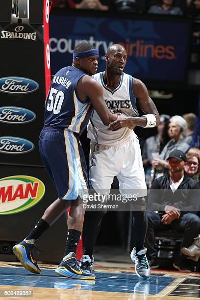 Zach Randolph of the Memphis Grizzlies defends against Kevin Garnett of the Minnesota Timberwolves during the game on January 23 2016 at Target...