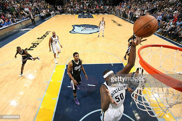 Zach Randolph of the Memphis Grizzlies drives to the basket against the Sacramento Kings on November 13, 2014 at FedExForum in Memphis, Tennessee....
