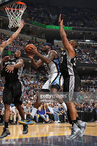 Zach Randolph of the Memphis Grizzlies drives to the basket in Game Three of the Western Conference Quarterfinals against the San Antonio Spurs...