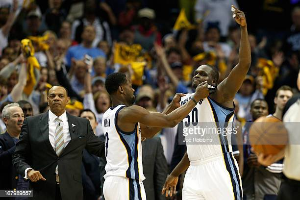 Zach Randolph of the Memphis Grizzlies gestures toward the Los Angeles Clippers bench after being ejected from Game Six of the Western Conference...