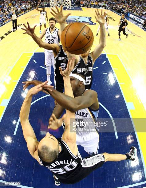 Zach Randolph of the Memphis Grizzlies goes for a shot against Manu Ginobili of the San Antonio Spurs during Game Three of the Western Conference...