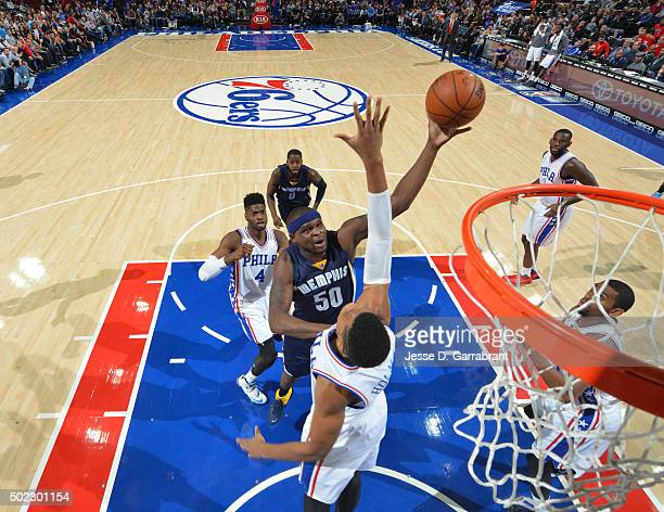 Zach Randolph of the Memphis Grizzlies goes up for the short shot against the Memphis Philadelphia 76ers at Wells Fargo Center on December 22 2015 in...