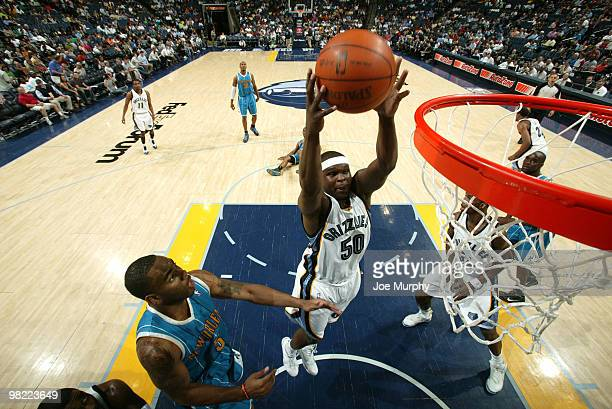 Zach Randolph of the Memphis Grizzlies grabs a rebound against the New Orleans Hornets on April 02 2010 at FedExForum in Memphis Tennessee NOTE TO...