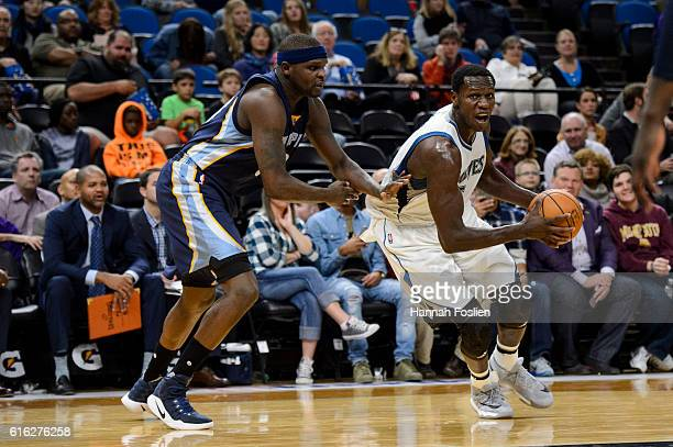 Zach Randolph of the Memphis Grizzlies guards against Gorgui Dieng of the Minnesota Timberwolves during the preseason game on October 19 2016 at...